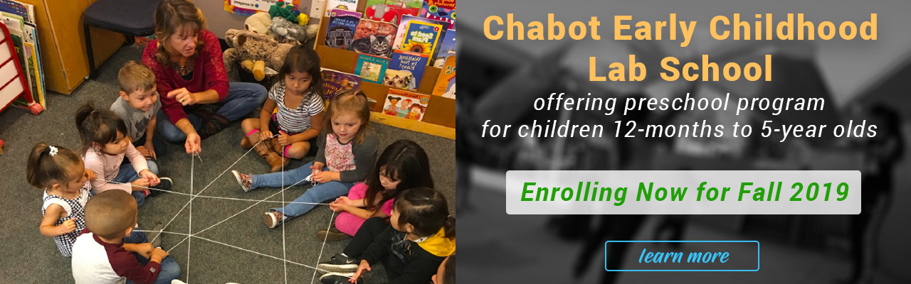 Chabot Early Childhood Lab School has preschool program for 3-5 year olds.