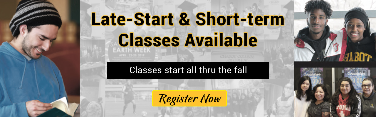 many late start and short term classes for fall 2019 are still available. See the list now.