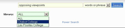 Example searching the Library Catalog using Opposing Viewpoints as keywords.