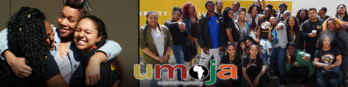 Umoja logo with group pictures of Umoja participants.